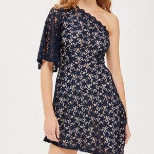 Topshop star print lace one shoulder navy dress